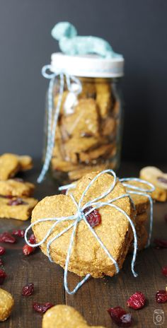 Your doggie is going to LOVE these homemade dog treats! They are Cran-Pumpkin Peanut Bugger Oatmeal and gluten free!!! Great for most dogs and oh so yummy