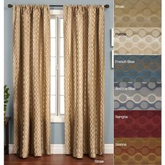 Add a splash of decor to your home and windows with this 84-inch long rod pocket curtain panel featuring a circular geometric design. Offered in multiple colors, this window panel will add an interesting design detail to windows.