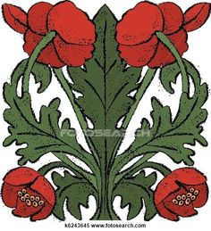Clipart of Nouveau Poppies k6243645 - Search Clip Art, Illustration Murals, Drawings and Vector EPS Graphics Images - k6243645.eps