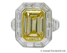 SophiaD - Art Deco and Antique Jewerly Store in New York Yellow Diamond Rings, Emerald Cut Diamonds, Diamond Gemstone, Colored Diamonds, Diamond Jewelry, Gemstone Jewelry, Pretty Rings, Beautiful Rings, Yellow Jewelry