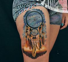 Colorful dream catcher tattoo creations are contemporary in design, with smooth, simple lines and lovely combinations of colors. These dream catchers will add beauty to any part in your body, and make thoughtful and unique tattoos. Atrapasueños Tattoo, Tatoo Art, Piercing Tattoo, Body Art Tattoos, Tatoos, Tattoo Horse, Pretty Tattoos, Unique Tattoos, Beautiful Tattoos