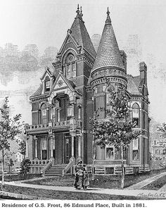 History 101 with Davinci the Detroit dog; Frost house, Detroit Illustration from Silas Farmer's, History of Detroit and Wayne county and early Michigan c. Old Mansions, Abandoned Mansions, Victorian Architecture, Art And Architecture, Old Victorian Homes, Victorian Houses, Die Renaissance, Detroit History, Second Empire