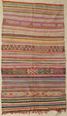 """96""""X60"""" Vintage Moroccan rug woven by hand from scraps of fabric / boucherouite / boucherouette"""