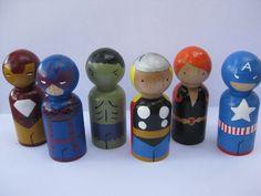 Superhero peg doll set 2. $30.00, via Etsy.