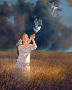 X Oil on panelWoman in golden wheat field, releasing White Tailed Hawks Dove Pictures, Pictures To Paint, Bible Art, Surreal Art, Pigeon, Cartoon Art, Female Art, New Art, Amazing Art