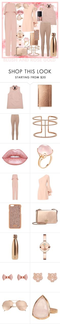 """""""Blush & Rose Gold"""" by ma-nouvelle-vie-en-rose ❤ liked on Polyvore featuring Kate Spade, Miss Selfridge, APM Monaco, Lime Crime, Goshwara, Jay Godfrey, Exclusive for Intermix, Henri Bendel, Tory Burch and S'well"""