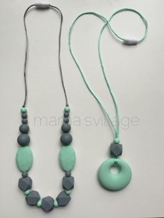 Silicone Nursing Necklace / Silicone Teething Necklace - Stella and Erykah Set
