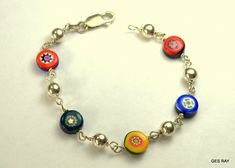 Colorful Millefiori Murano Glass Sterling Silver Bracelet #ChainLink Glass Necklace, Glass Jewelry, Jewellery, Murano Glass Beads, Sterling Silver Bracelets, Antique Jewelry, Colorful, Ebay, Beautiful