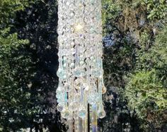 On Hold - Antique Crystal Wind Chime, Pale Ocean Blue Wind Chime, Waterfall Wind Chime, Crystal Sun Catcher, Window Decoration