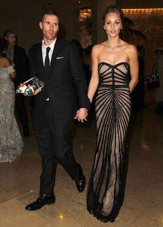 Canadian actress, Laura Vandervoort with her partner Oliver Trevena...