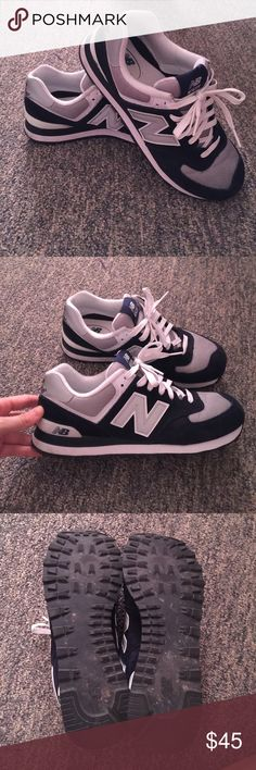 New Balance 574 Gray and navy blue 574's. Only work a few times, wonderful condition. Super comfy shoes, I just don't wear them as much as I would like. Make an offer! New Balance Shoes Sneakers