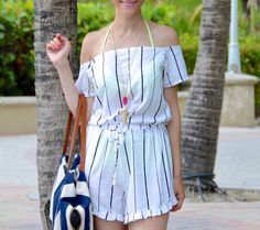 OFF THE SHOULDER ROMPER WITH RUFFLES