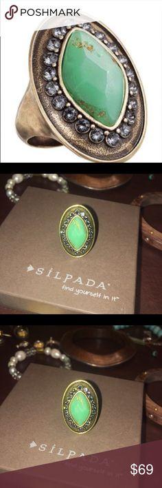 Silpada Retired botanical ring size 8 Silpada Retired Botanical Ring ~ large green vintage look stone accented with Swarovski Crystals & brass. Fun & classy piece Silpada Jewelry Rings