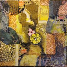"""Peppermint Candy Flower"" by sherrie stahl, mixed media collage artist."