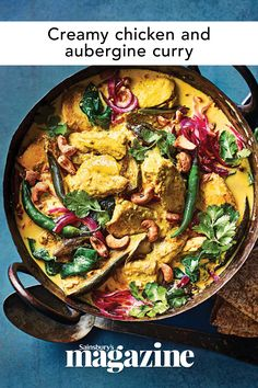 A rich, warming chicken and aubergine curry that will boost your healthy-eating plans - it comes in at under 500 calories per serving. Get the Sainsburys's magazine recipe Aubergine Curry Recipe, Healthy Eating Recipes, Cooking Recipes, Savoury Dishes, Savoury Recipes, Indian Food Recipes, Ethnic Recipes, Midweek Meals, Curry Recipes