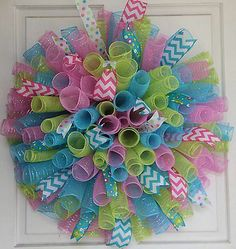Pastel Blue Pink Lime Curly Spring Easter Deco Mesh Wreath | eBay