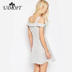 women Summer striped Dress Slash neck Sleeveless Short Dresses Casual Fashion beach Ladies A-line Dress