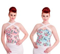Hell-Bunny-Swallow-Rose-Lacey-Top-50s-Rockabilly-Pin-Up-Style-Strappy-Top
