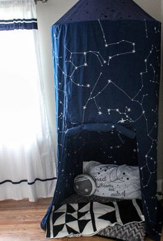 Toddler Boy Room Design Space Theme Land of Nod constellation canopy