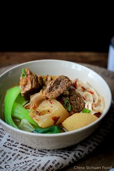 RED BRAISED BEEF NOODLE SOUP == INGREDIENTS == 1 lb beef brisket, 1 white radish , 1 T Doubanjiang, 1 inch root ginger, 2 green onions,   1 T cooking oil, 1 T light soy sauce, 1 t crystal sugar , Noodles as needed, 3 tree Bok Choy,  =SPICE and seasoning= 3 chili peppers, 2 star anise, 1 small piece of cinnamon bark, 1/2 t Sichuan peppercorn , 4~6 ginger slices , 1 bay leave , 1 t salt, 1 T light soy sauce====