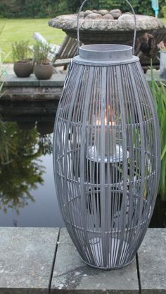 Large Bamboo Wooden Outdoor Lantern Grey with Glass Hurricane Nordic – Greige - Home & Garden Accessories, Gorgeous Gifts - Chiswick, London W4 & Surrey