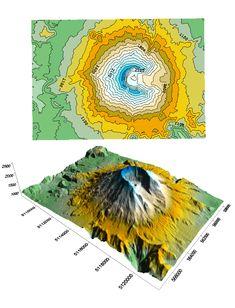 Contour map Mt. St. Helens
