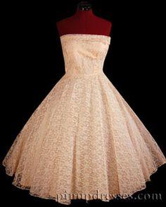 PinupDresses.com Vintage 50s Strapless Pink Lace Wedding Party Dress XS #Vintage