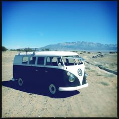 My 65' VW Bus with the Sandia Mountains in the background.