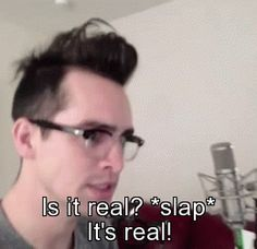 Brendon Urie's reaction to Miss Jackson being on the top itunes chart <><> me when a ship becomes canon