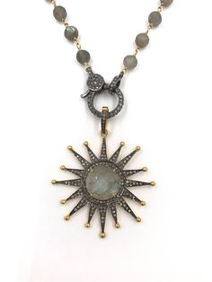 Short diamond labradorite star necklace, Pave diamond necklace, Layer necklace, Rosary chain, Labradorite star