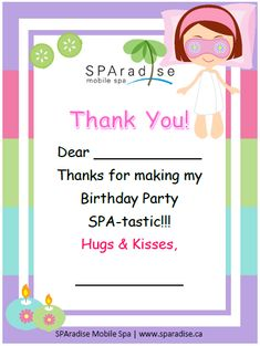 Spa Party Thank You Card Free Printable - SPAradise Mobile Spa Inc. | Vancouver Premier Mobile Spa
