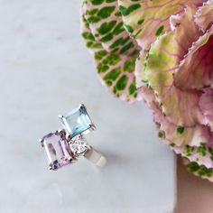 Amethyst, topaz and Swiss crystal ring. #jewelry #topaz #gemstone #rings