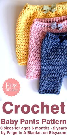 Crochet baby pants pattern for beginners; designed by Paige Fritsche at Paige In A Blanket on Etsy. These baby bottoms can be crocheted into shorts or pants. The pattern includes instructions for three different sizes; small, medium and large. Generally, small is for a newborn, medium is 6-12 months and large is 12 months to 2 years. The bottoms will start by fitting loosely and as the baby grows the crochet will stretch with them. An elastic waistband helps the pants grow with the baby.