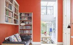 Interiors: A colourful family home in London - Telegraph Farrow And Ball Paint, Farrow Ball, Murs Oranges, Victorian Terrace Interior, Family Room, Home And Family, Orange Rooms, Stair Landing, Room Paint Colors