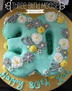 30th Birthday Cake Aqua Teal grey yellow floral by Three Blind Moose Specialty Cakes