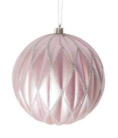 """Lavender Blush Glittered Lattice Shatterproof Christmas Ball Ornament 6"""""""" (150mm)"""