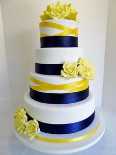 royal blue and canary yellow wedding cake | Blue And Yellow Wedding Cakes Renees gourmet wedding cakes,