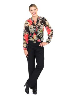 Redhead Office - Floral High Noon Tie Blouse. This feminine floral printed blouse is a gorgeous highlight piece that can be worn under corporate suiting. The chiffon fabric is easy care and features a strong color print.