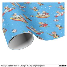 """Vintage Space-Babies Collage Wrapping Paper #BlueChristmas #Christmas #HappyBirthday #GiftWrap #WrappingPaper #SpaceBabies #Space #NASA """"Blue Christmas"""", """"Gift Wrap"""", """"Wrapping Paper"""", """"Happy Birthday"""", #BirthdayGiftwrap, """"Birthday Giftwrap"""", """"Birthday Wrapping Paper"""""""
