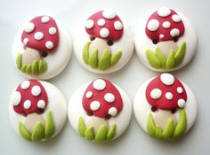 red mushrooms buttons handmade with polymer clay