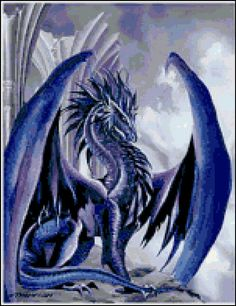 Ice Dragon Cross Stitch Printable Needlework Pattern - DIY Crossstitch Chart, Relaxing Hobby, Instant Download PDF Design