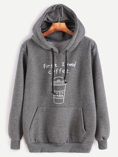 Sweat-shirt à capuche imprimé lettre et café avec poches -vert d'armée-French SheIn(Sheinside)