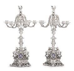 A pair of Napoleon III Silver and Enamel Six-light Candelabra, Maurice Mayer, Paris, circa 1860-70 | Lot | Sotheby's