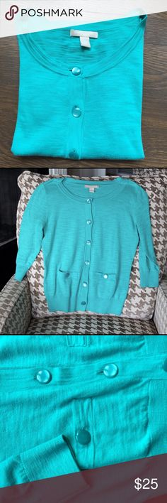 Banana Republic  Turquoise Cardigan Pretty turquoise cardigan with front pockets. Great weight for chilly outside and AC inside weather. The color in the pictures is not as blue but more turquoise Great condition. Banana Republic Sweaters Cardigans