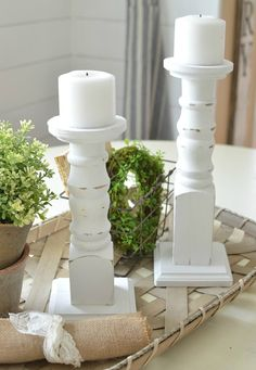 Farmstead White Wood Candle Holders