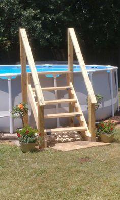 Oberirdischer Pool, Swimming Pool Landscaping, Above Ground Swimming Pools, Diy Pool, Swimming Pools Backyard, In Ground Pools, Above Ground Pool Stairs, Above Ground Pool Landscaping, Piscina Diy