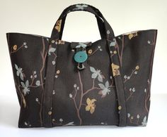 Knitting  Project Bag Brown Floral Upholstery by ButtermilkCottage, $70.00