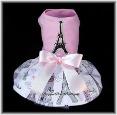 Dog Dress Paris Eiffel Tower Pink glitter bling Large by DoggieDivaBoutique on Etsy, $56.99