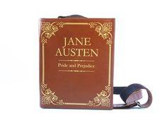 Jane Austen Leather Book Bag Pride and Prejudice by krukrustudio