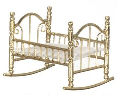 Dollhouse miniature rocking cradle baby nursery room furniture brass bed New picclick.com